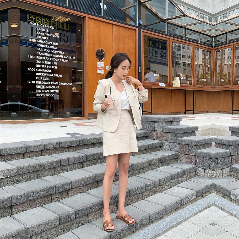 韓国 ファッション セットアップ 春 夏 カジュアル PTXJ614  リネン風 ノーカラー ミニスカート スーツ オルチャン シンプル 定番 セレカジの写真8枚目