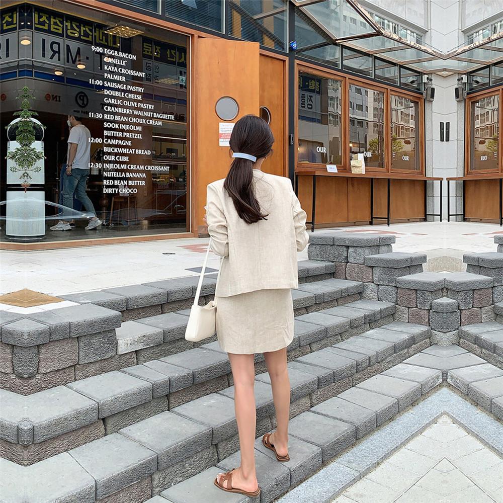 韓国 ファッション セットアップ 春 夏 カジュアル PTXJ614  リネン風 ノーカラー ミニスカート スーツ オルチャン シンプル 定番 セレカジの写真9枚目