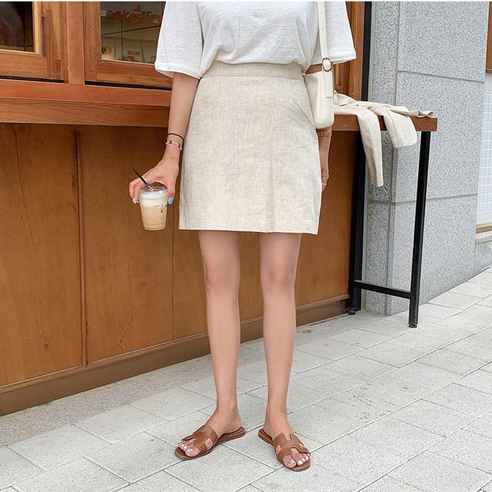 韓国 ファッション セットアップ 春 夏 カジュアル PTXJ614  リネン風 ノーカラー ミニスカート スーツ オルチャン シンプル 定番 セレカジの写真10枚目