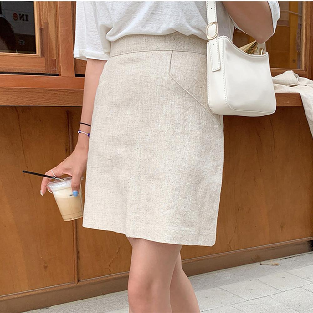 韓国 ファッション セットアップ 春 夏 カジュアル PTXJ614  リネン風 ノーカラー ミニスカート スーツ オルチャン シンプル 定番 セレカジの写真11枚目