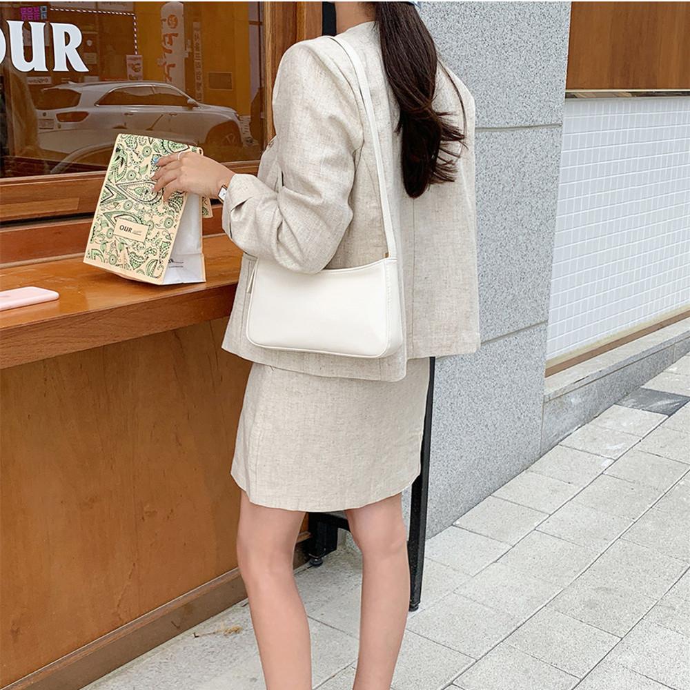 韓国 ファッション セットアップ 春 夏 カジュアル PTXJ614  リネン風 ノーカラー ミニスカート スーツ オルチャン シンプル 定番 セレカジの写真12枚目