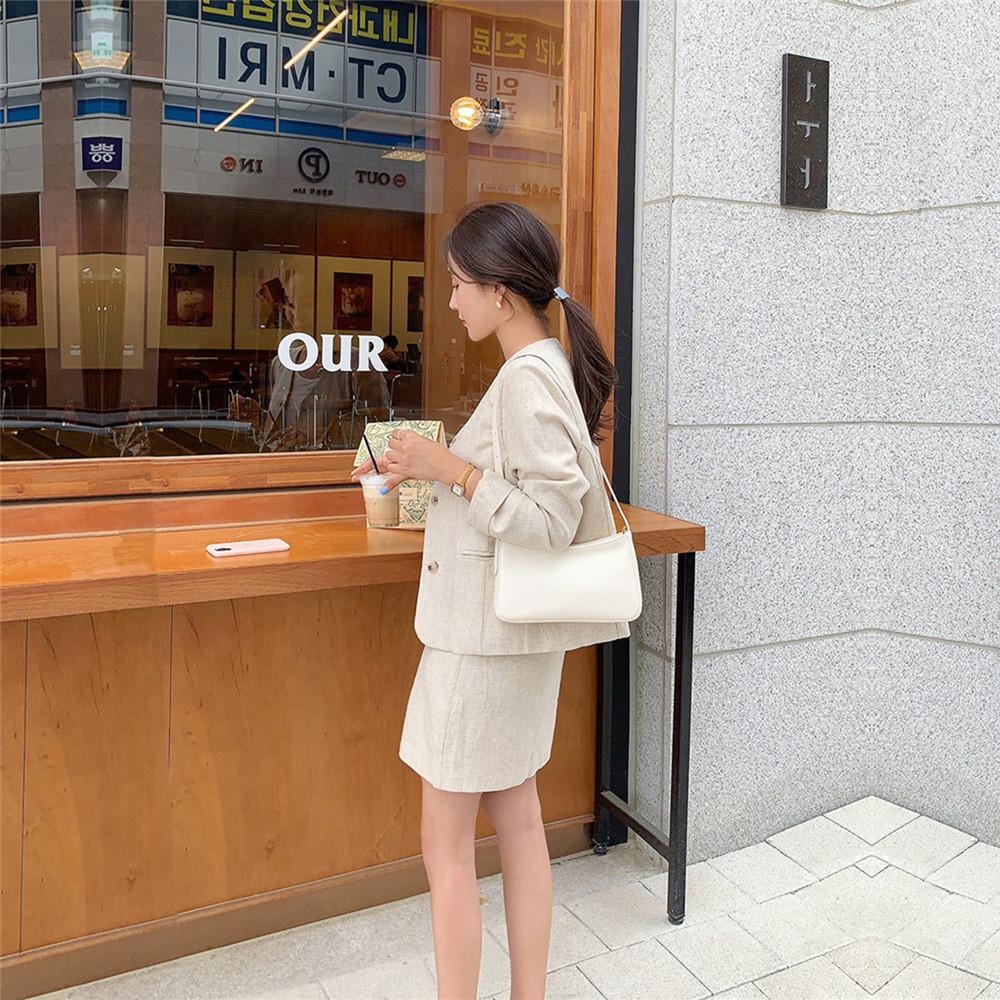 韓国 ファッション セットアップ 春 夏 カジュアル PTXJ614  リネン風 ノーカラー ミニスカート スーツ オルチャン シンプル 定番 セレカジの写真13枚目