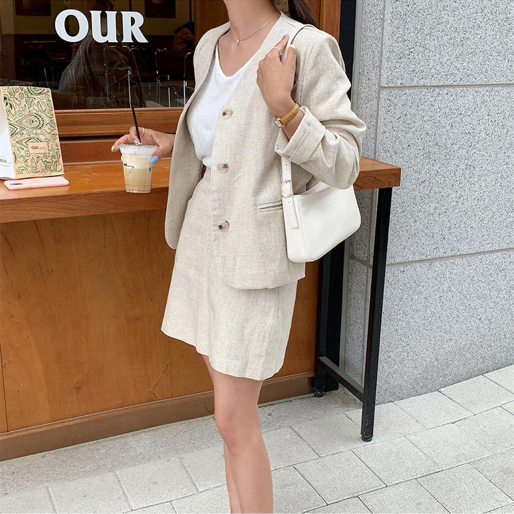 韓国 ファッション セットアップ 春 夏 カジュアル PTXJ614  リネン風 ノーカラー ミニスカート スーツ オルチャン シンプル 定番 セレカジの写真14枚目