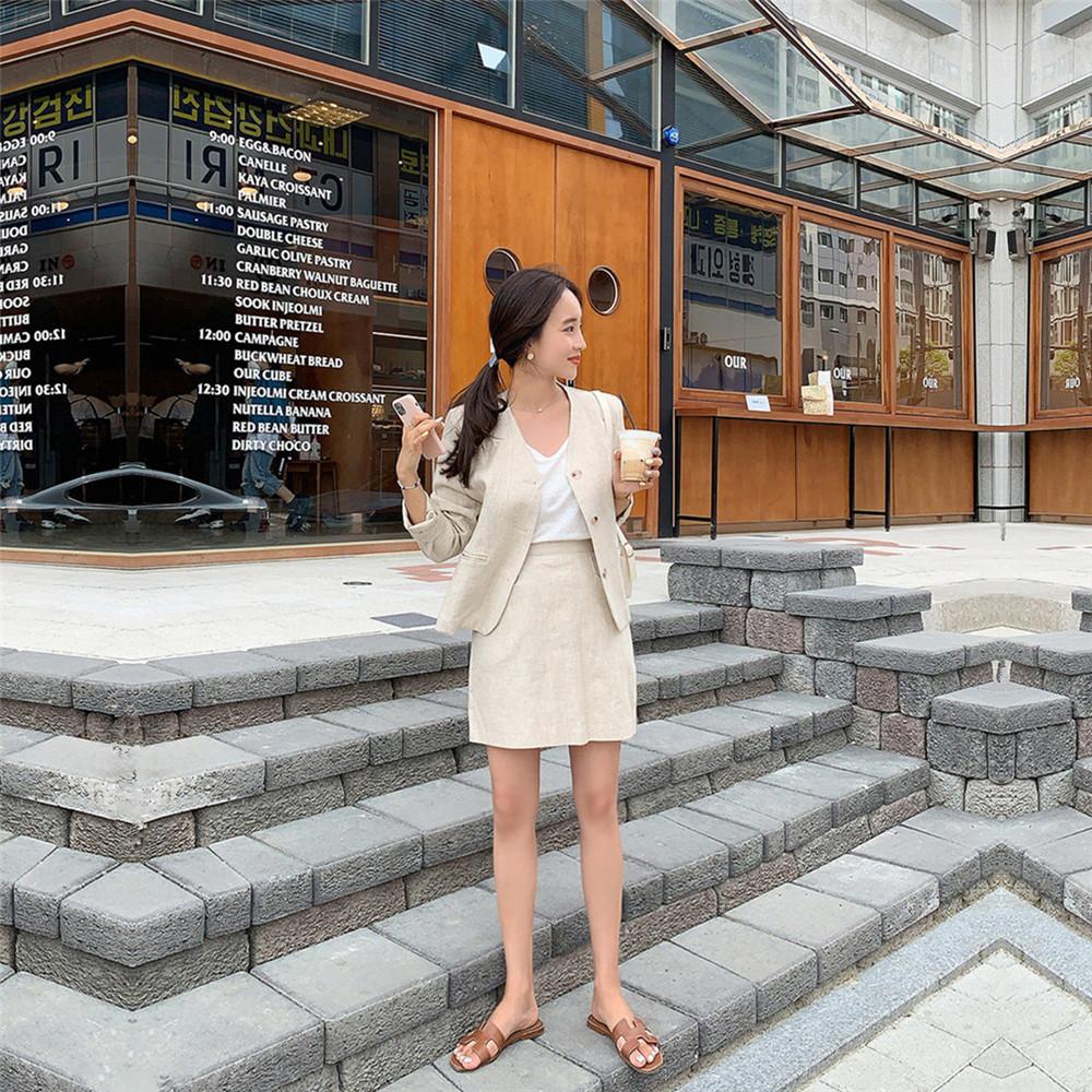 韓国 ファッション セットアップ 春 夏 カジュアル PTXJ614  リネン風 ノーカラー ミニスカート スーツ オルチャン シンプル 定番 セレカジの写真15枚目