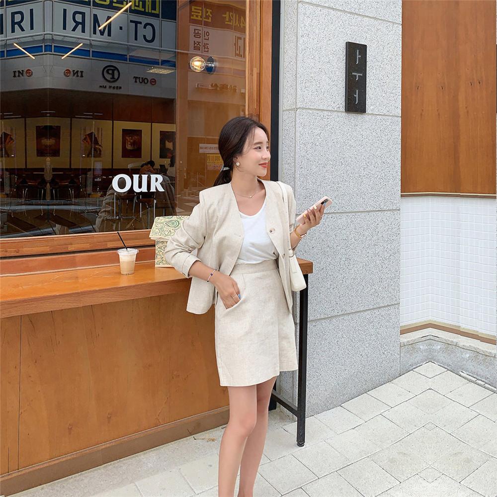 韓国 ファッション セットアップ 春 夏 カジュアル PTXJ614  リネン風 ノーカラー ミニスカート スーツ オルチャン シンプル 定番 セレカジの写真16枚目