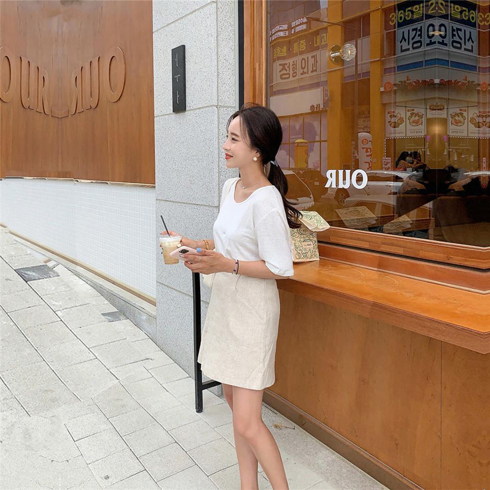 韓国 ファッション セットアップ 春 夏 カジュアル PTXJ614  リネン風 ノーカラー ミニスカート スーツ オルチャン シンプル 定番 セレカジの写真17枚目