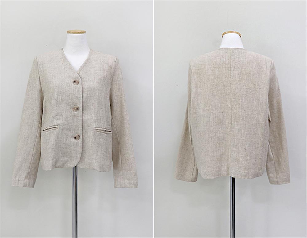韓国 ファッション セットアップ 春 夏 カジュアル PTXJ614  リネン風 ノーカラー ミニスカート スーツ オルチャン シンプル 定番 セレカジの写真18枚目