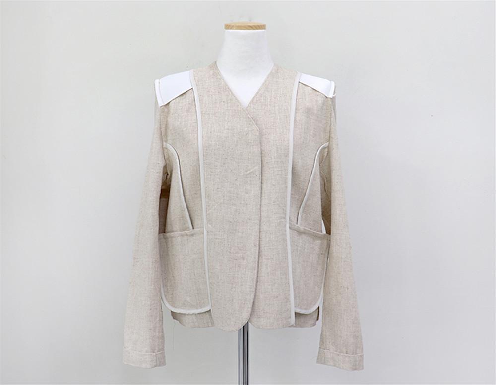 韓国 ファッション セットアップ 春 夏 カジュアル PTXJ614  リネン風 ノーカラー ミニスカート スーツ オルチャン シンプル 定番 セレカジの写真19枚目
