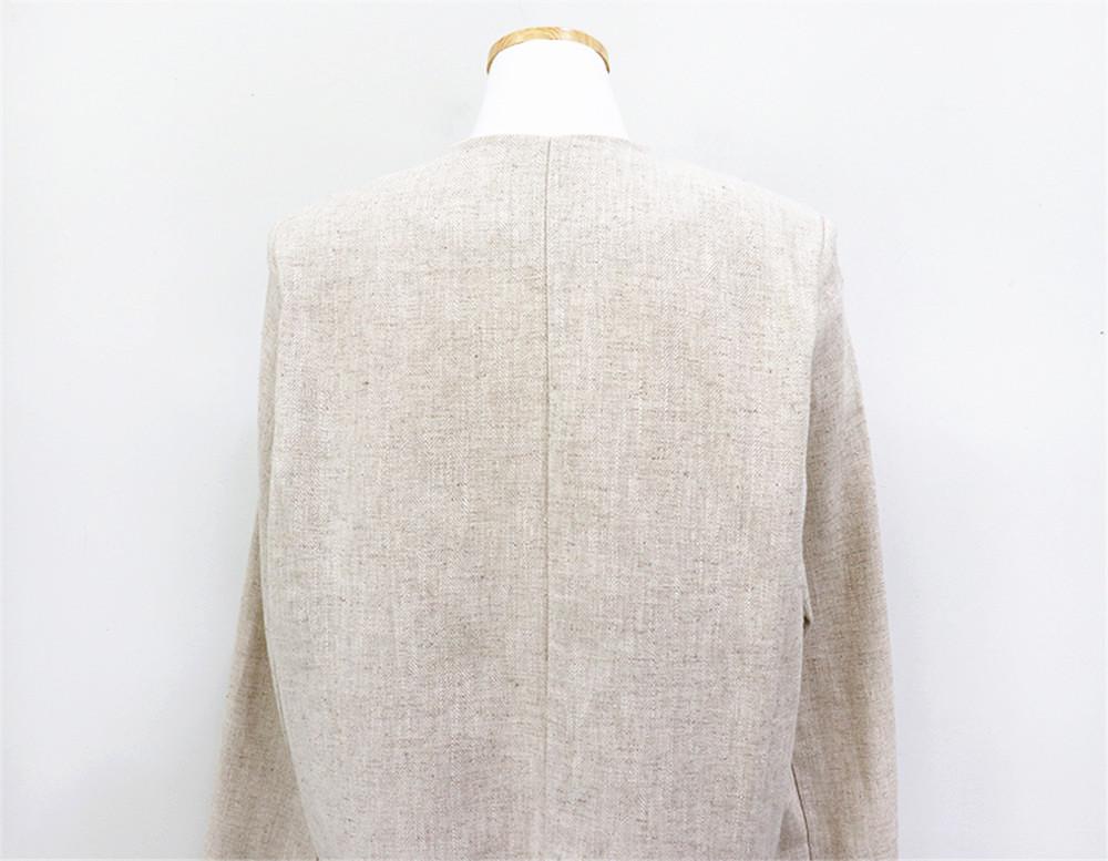 韓国 ファッション セットアップ 春 夏 カジュアル PTXJ614  リネン風 ノーカラー ミニスカート スーツ オルチャン シンプル 定番 セレカジの写真20枚目