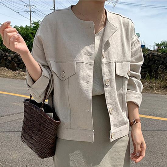 韓国 ファッション アウター ジャケット 春 夏 カジュアル PTXJ616  リネン風 ノーカラー オーバーサイズ こなれ感 オルチャン シンプル 定番 セレカジの写真3枚目