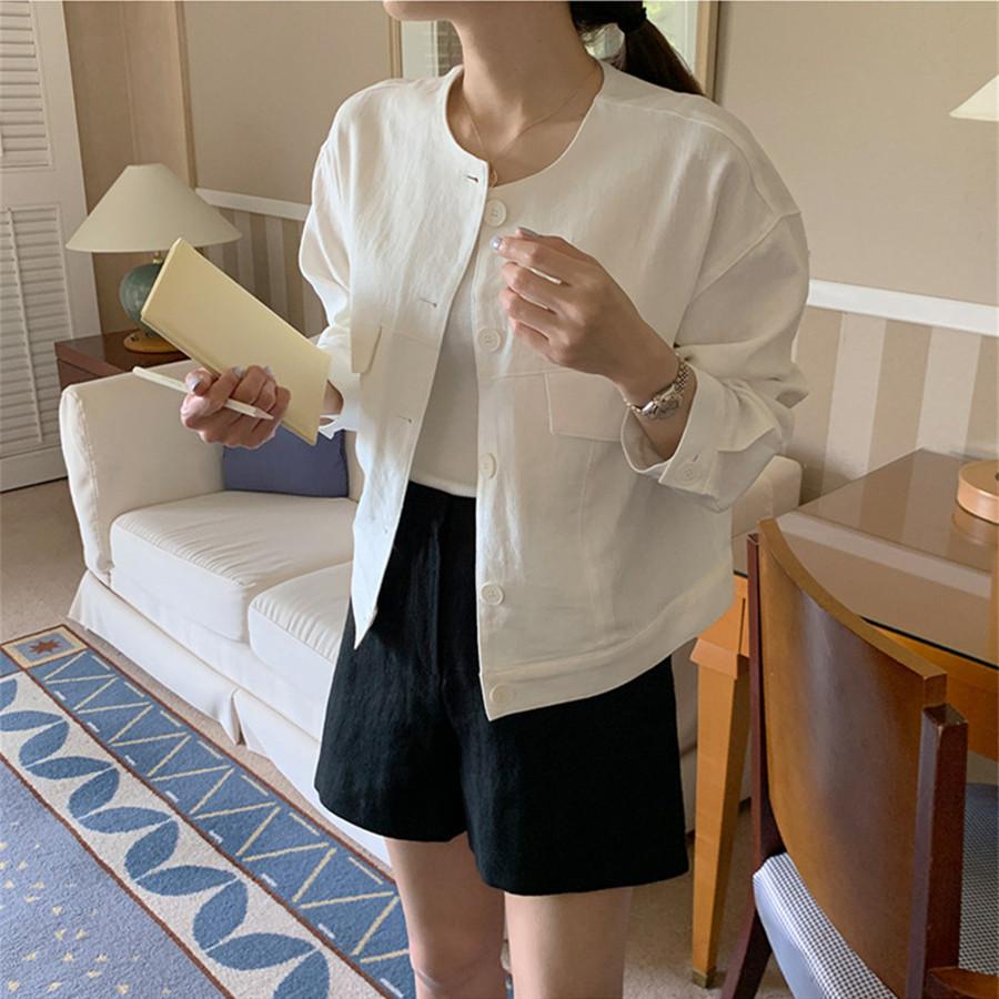 韓国 ファッション アウター ジャケット 春 夏 カジュアル PTXJ616  リネン風 ノーカラー オーバーサイズ こなれ感 オルチャン シンプル 定番 セレカジの写真4枚目