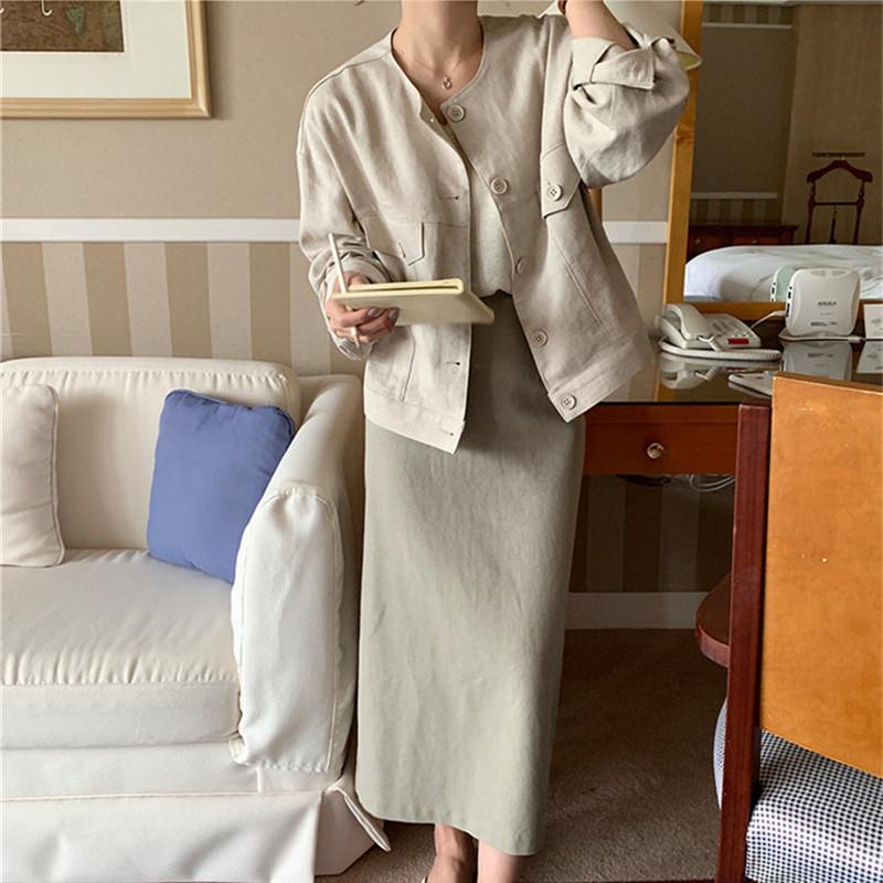 韓国 ファッション アウター ジャケット 春 夏 カジュアル PTXJ616  リネン風 ノーカラー オーバーサイズ こなれ感 オルチャン シンプル 定番 セレカジの写真6枚目