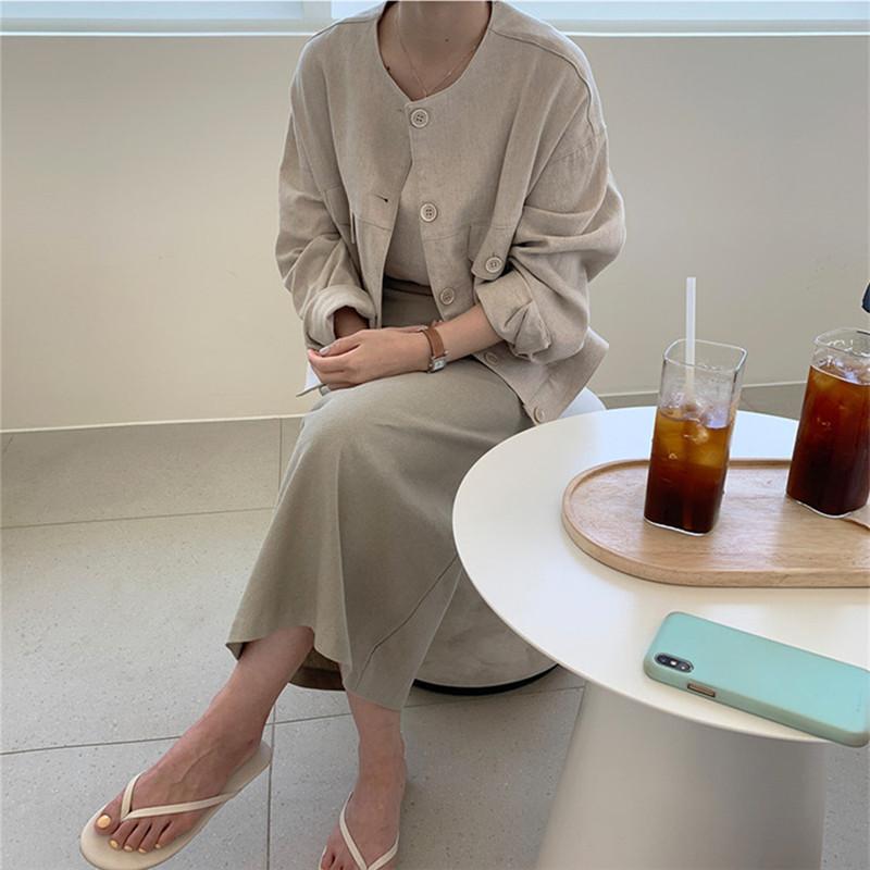 韓国 ファッション アウター ジャケット 春 夏 カジュアル PTXJ616  リネン風 ノーカラー オーバーサイズ こなれ感 オルチャン シンプル 定番 セレカジの写真8枚目
