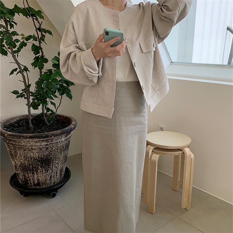 韓国 ファッション アウター ジャケット 春 夏 カジュアル PTXJ616  リネン風 ノーカラー オーバーサイズ こなれ感 オルチャン シンプル 定番 セレカジの写真10枚目