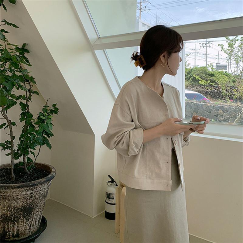 韓国 ファッション アウター ジャケット 春 夏 カジュアル PTXJ616  リネン風 ノーカラー オーバーサイズ こなれ感 オルチャン シンプル 定番 セレカジの写真11枚目
