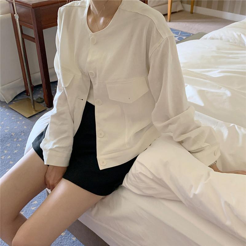 韓国 ファッション アウター ジャケット 春 夏 カジュアル PTXJ616  リネン風 ノーカラー オーバーサイズ こなれ感 オルチャン シンプル 定番 セレカジの写真16枚目