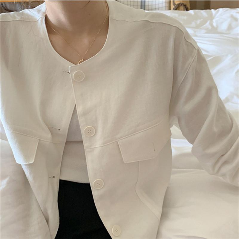 韓国 ファッション アウター ジャケット 春 夏 カジュアル PTXJ616  リネン風 ノーカラー オーバーサイズ こなれ感 オルチャン シンプル 定番 セレカジの写真17枚目
