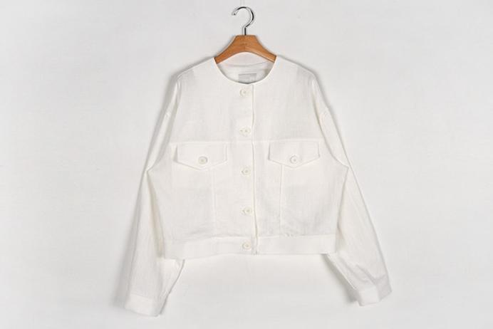 韓国 ファッション アウター ジャケット 春 夏 カジュアル PTXJ616  リネン風 ノーカラー オーバーサイズ こなれ感 オルチャン シンプル 定番 セレカジの写真18枚目