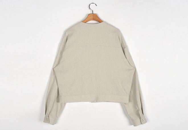 韓国 ファッション アウター ジャケット 春 夏 カジュアル PTXJ616  リネン風 ノーカラー オーバーサイズ こなれ感 オルチャン シンプル 定番 セレカジの写真20枚目