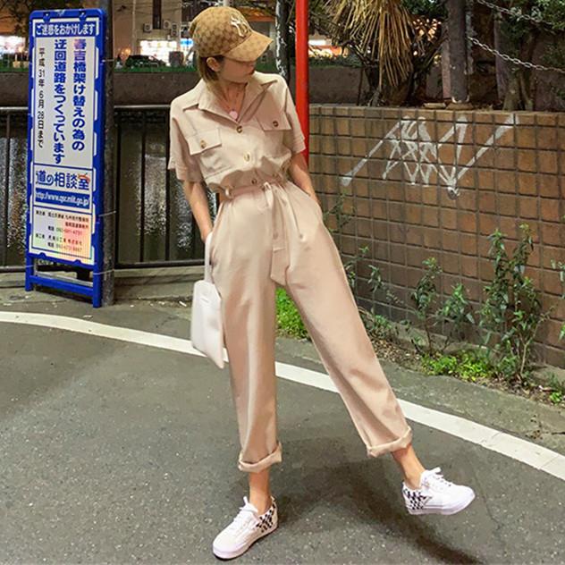 韓国 ファッション オールインワン オーバーオール 春 夏 秋 カジュアル PTXJ621  ゆったり ジャンプスーツ ウエストマーク オルチャン シンプル 定番 セレカジの写真2枚目