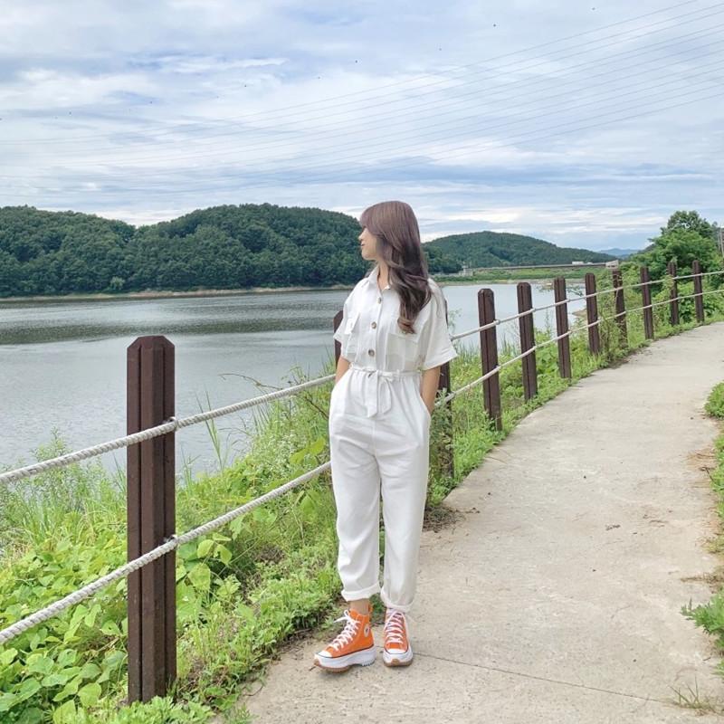 韓国 ファッション オールインワン オーバーオール 春 夏 秋 カジュアル PTXJ621  ゆったり ジャンプスーツ ウエストマーク オルチャン シンプル 定番 セレカジの写真7枚目