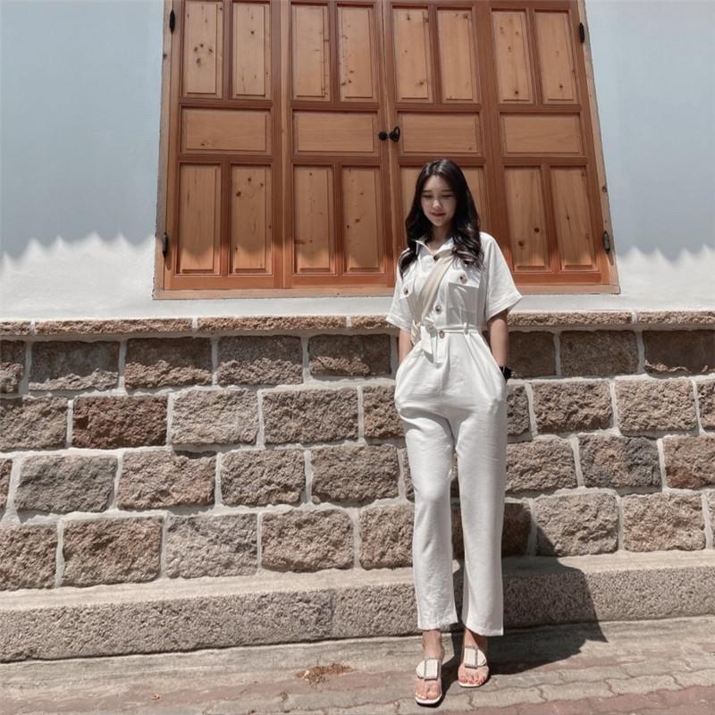 韓国 ファッション オールインワン オーバーオール 春 夏 秋 カジュアル PTXJ621  ゆったり ジャンプスーツ ウエストマーク オルチャン シンプル 定番 セレカジの写真8枚目