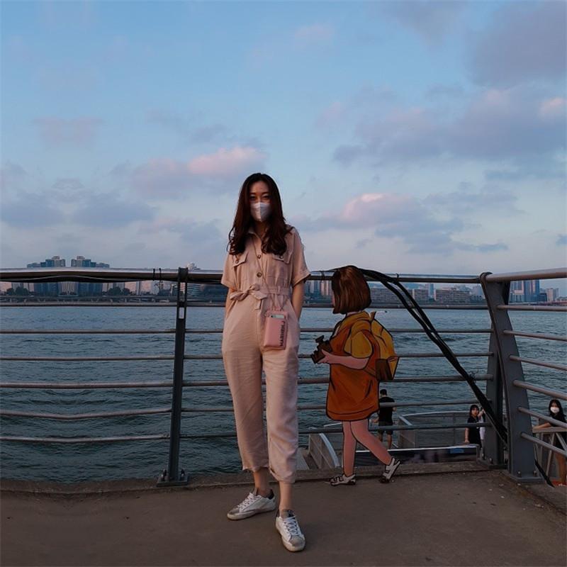 韓国 ファッション オールインワン オーバーオール 春 夏 秋 カジュアル PTXJ621  ゆったり ジャンプスーツ ウエストマーク オルチャン シンプル 定番 セレカジの写真11枚目