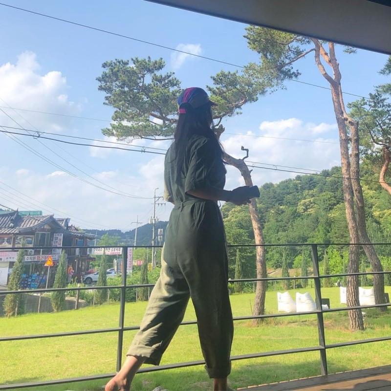 韓国 ファッション オールインワン オーバーオール 春 夏 秋 カジュアル PTXJ621  ゆったり ジャンプスーツ ウエストマーク オルチャン シンプル 定番 セレカジの写真15枚目