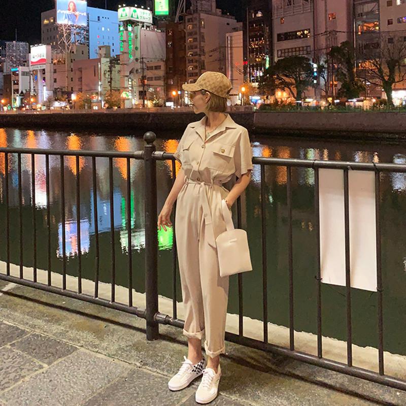 韓国 ファッション オールインワン オーバーオール 春 夏 秋 カジュアル PTXJ621  ゆったり ジャンプスーツ ウエストマーク オルチャン シンプル 定番 セレカジの写真16枚目