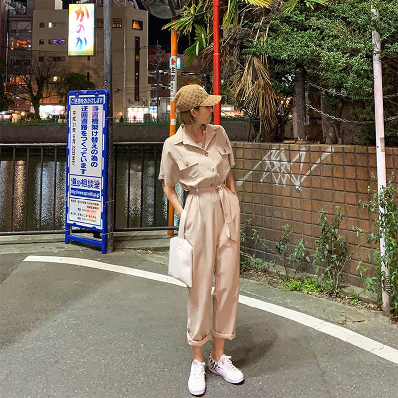 韓国 ファッション オールインワン オーバーオール 春 夏 秋 カジュアル PTXJ621  ゆったり ジャンプスーツ ウエストマーク オルチャン シンプル 定番 セレカジの写真18枚目