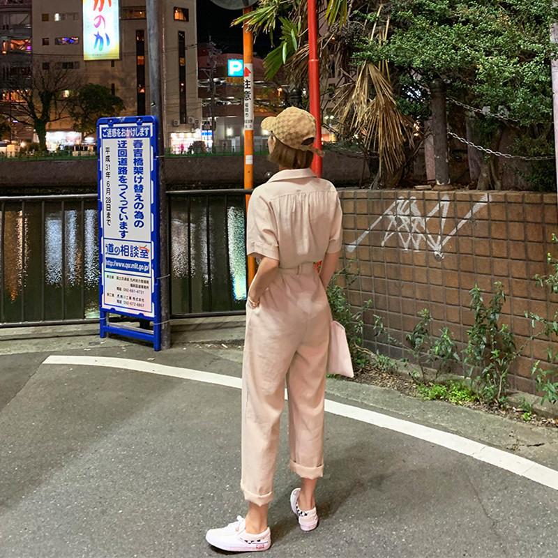 韓国 ファッション オールインワン オーバーオール 春 夏 秋 カジュアル PTXJ621  ゆったり ジャンプスーツ ウエストマーク オルチャン シンプル 定番 セレカジの写真19枚目