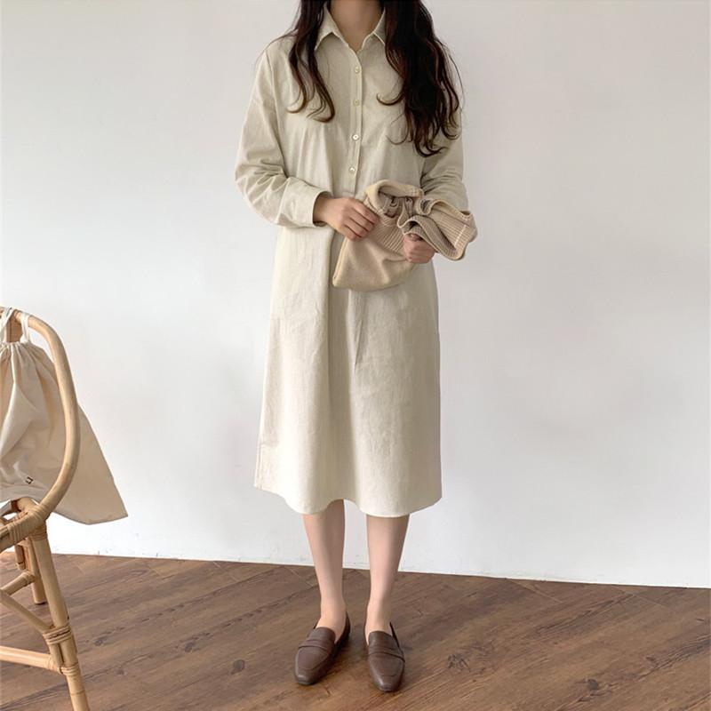 韓国 ファッション ワンピース 春 夏 秋 カジュアル PTXJ623  スキッパー ゆるタイト リネン風 シアー オルチャン シンプル 定番 セレカジの写真5枚目