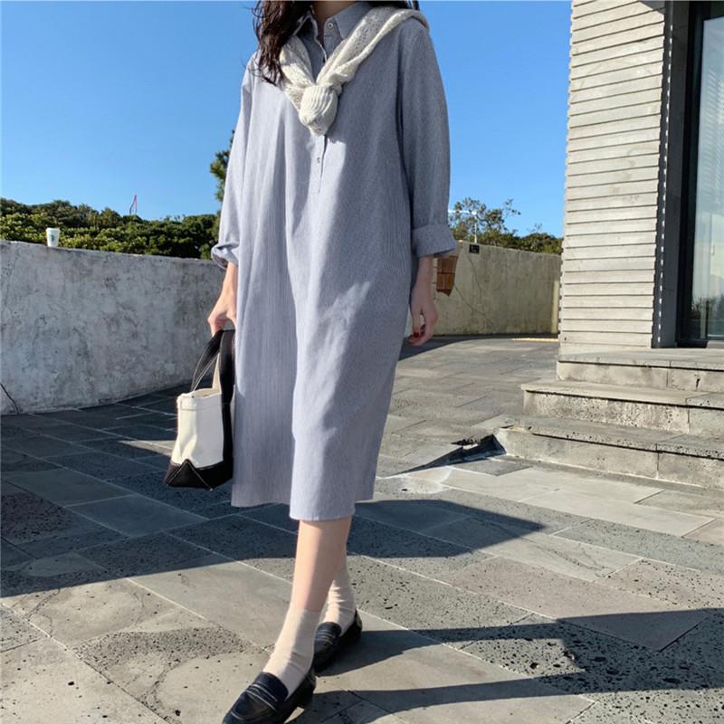 韓国 ファッション ワンピース 春 夏 秋 カジュアル PTXJ623  スキッパー ゆるタイト リネン風 シアー オルチャン シンプル 定番 セレカジの写真8枚目