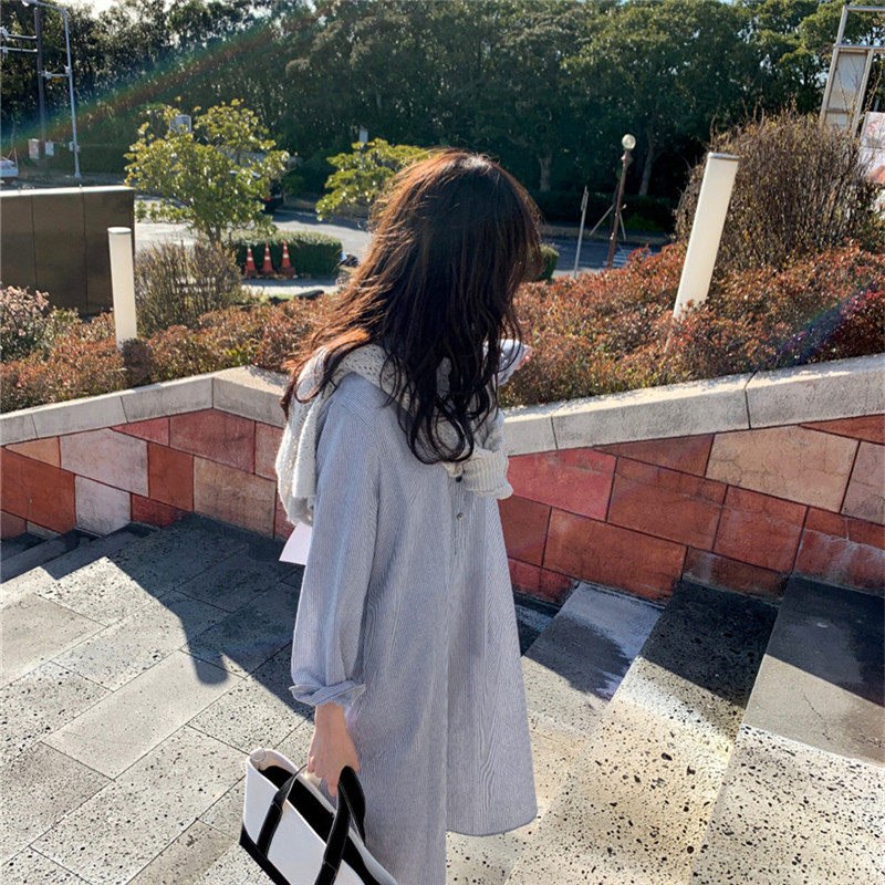 韓国 ファッション ワンピース 春 夏 秋 カジュアル PTXJ623  スキッパー ゆるタイト リネン風 シアー オルチャン シンプル 定番 セレカジの写真9枚目