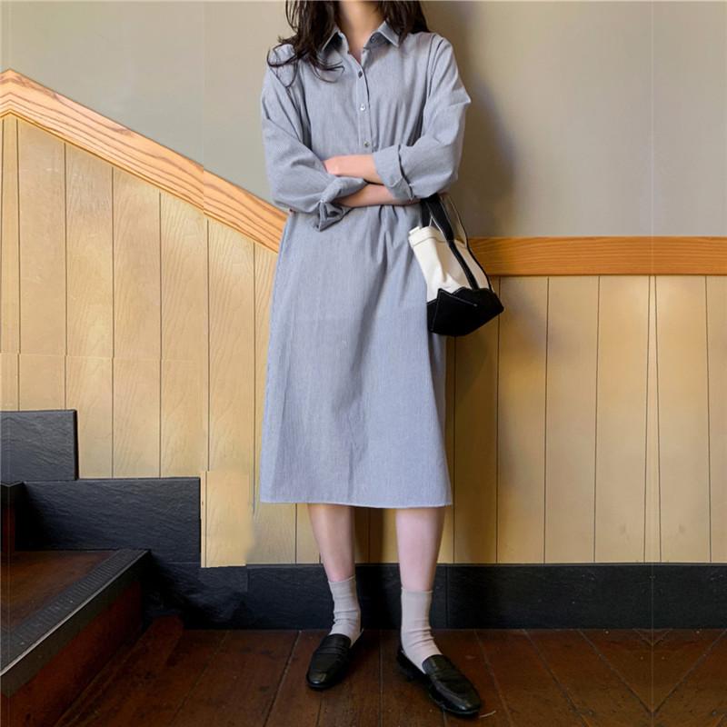 韓国 ファッション ワンピース 春 夏 秋 カジュアル PTXJ623  スキッパー ゆるタイト リネン風 シアー オルチャン シンプル 定番 セレカジの写真10枚目