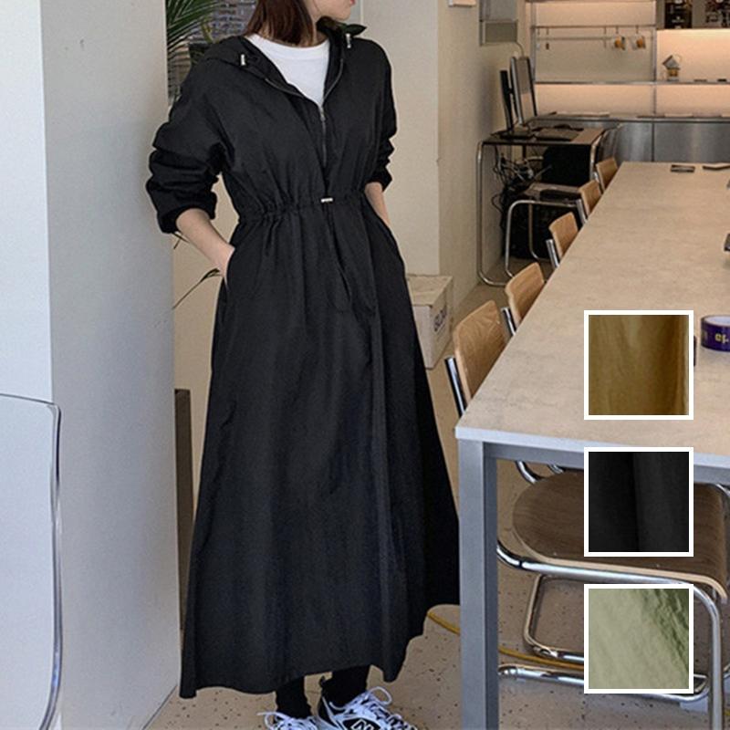 韓国 ファッション ワンピース 春 夏 秋 カジュアル PTXJ626  マウンテンパーカー風 重ね着 Aライン ミモレ オルチャン シンプル 定番 セレカジの写真1枚目