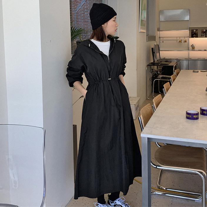韓国 ファッション ワンピース 春 夏 秋 カジュアル PTXJ626  マウンテンパーカー風 重ね着 Aライン ミモレ オルチャン シンプル 定番 セレカジの写真2枚目