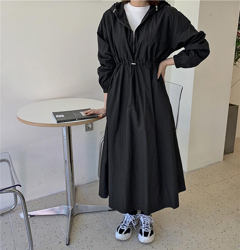韓国 ファッション ワンピース 春 夏 秋 カジュアル PTXJ626  マウンテンパーカー風 重ね着 Aライン ミモレ オルチャン シンプル 定番 セレカジの写真7枚目