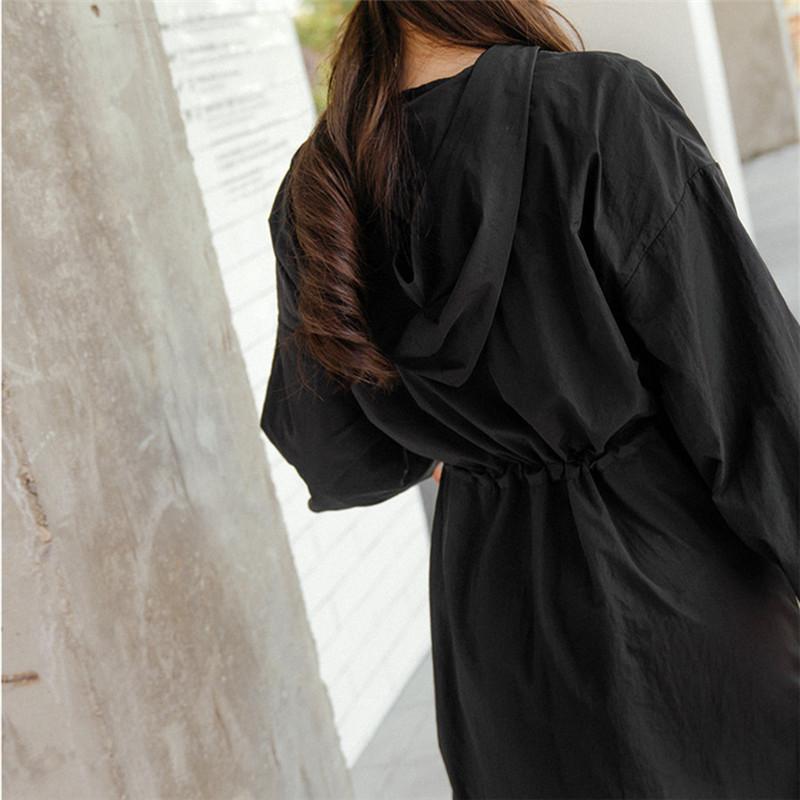 韓国 ファッション ワンピース 春 夏 秋 カジュアル PTXJ626  マウンテンパーカー風 重ね着 Aライン ミモレ オルチャン シンプル 定番 セレカジの写真8枚目