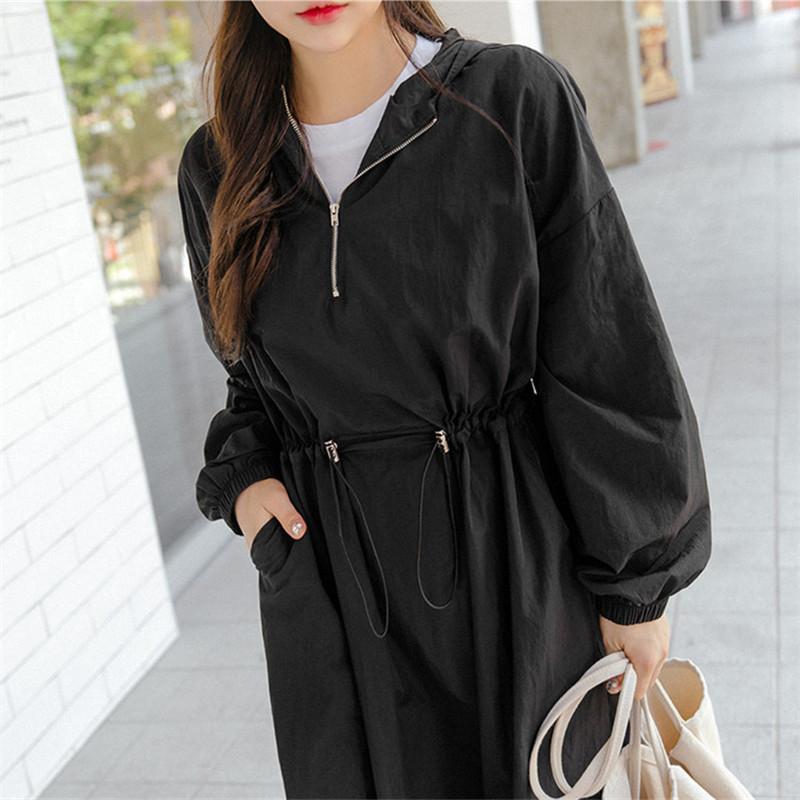 韓国 ファッション ワンピース 春 夏 秋 カジュアル PTXJ626  マウンテンパーカー風 重ね着 Aライン ミモレ オルチャン シンプル 定番 セレカジの写真9枚目