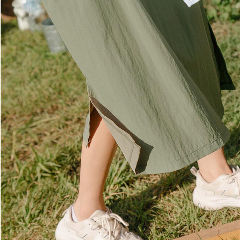 韓国 ファッション ワンピース 春 夏 秋 カジュアル PTXJ626  マウンテンパーカー風 重ね着 Aライン ミモレ オルチャン シンプル 定番 セレカジの写真12枚目