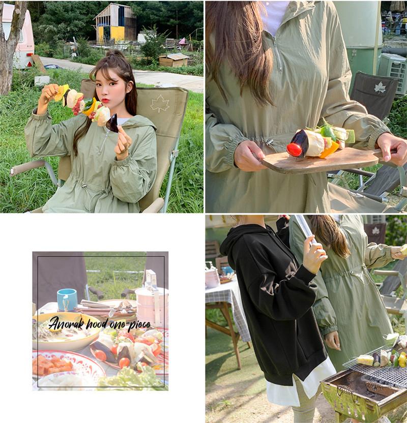 韓国 ファッション ワンピース 春 夏 秋 カジュアル PTXJ626  マウンテンパーカー風 重ね着 Aライン ミモレ オルチャン シンプル 定番 セレカジの写真15枚目