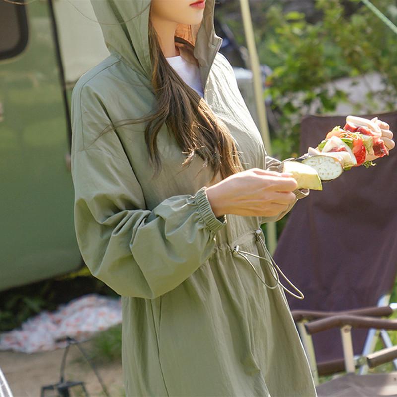 韓国 ファッション ワンピース 春 夏 秋 カジュアル PTXJ626  マウンテンパーカー風 重ね着 Aライン ミモレ オルチャン シンプル 定番 セレカジの写真16枚目