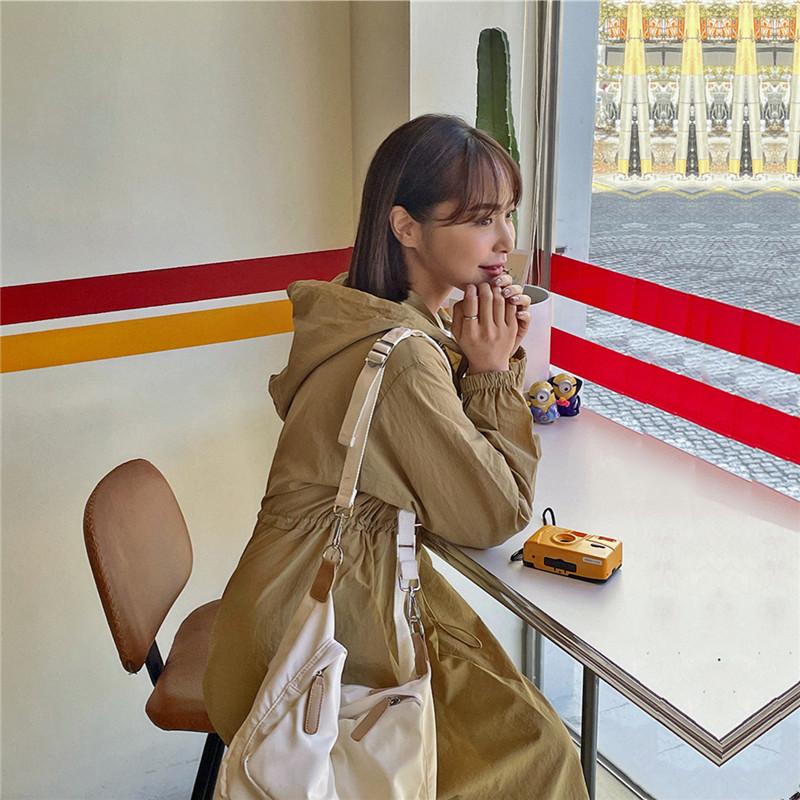 韓国 ファッション ワンピース 春 夏 秋 カジュアル PTXJ626  マウンテンパーカー風 重ね着 Aライン ミモレ オルチャン シンプル 定番 セレカジの写真17枚目