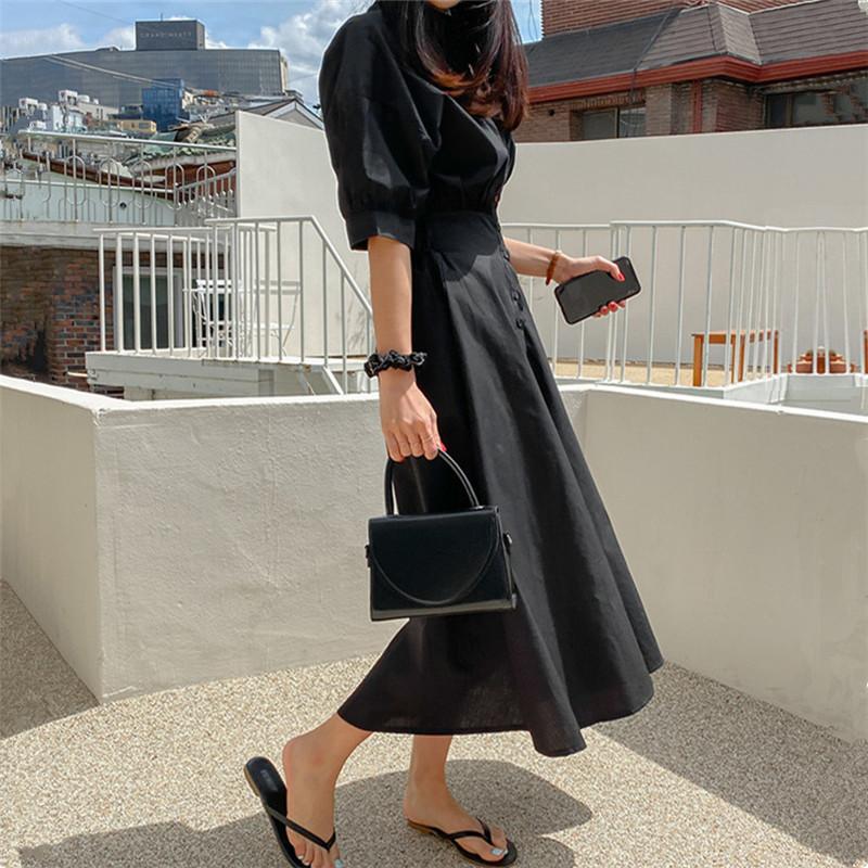 韓国 ファッション ワンピース 春 夏 カジュアル PTXJ627  ナチュラルテイスト リネン風 Aライン マキシ オルチャン シンプル 定番 セレカジの写真2枚目