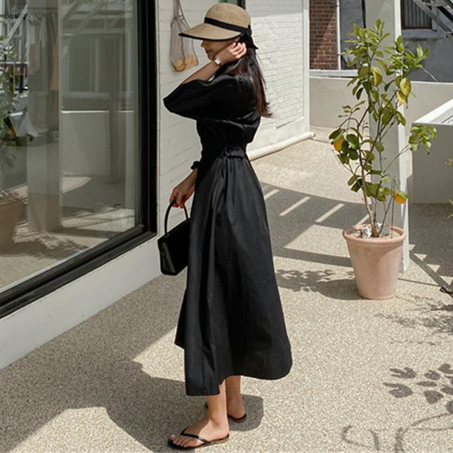 韓国 ファッション ワンピース 春 夏 カジュアル PTXJ627  ナチュラルテイスト リネン風 Aライン マキシ オルチャン シンプル 定番 セレカジの写真3枚目
