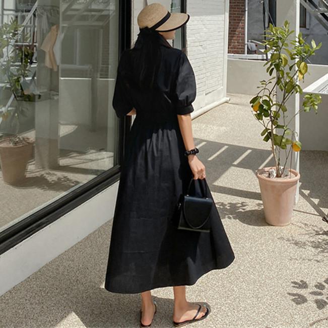 韓国 ファッション ワンピース 春 夏 カジュアル PTXJ627  ナチュラルテイスト リネン風 Aライン マキシ オルチャン シンプル 定番 セレカジの写真4枚目