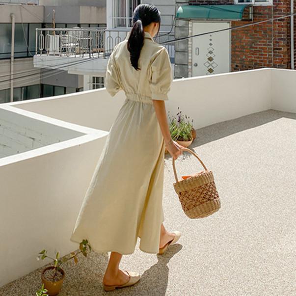 韓国 ファッション ワンピース 春 夏 カジュアル PTXJ627  ナチュラルテイスト リネン風 Aライン マキシ オルチャン シンプル 定番 セレカジの写真5枚目