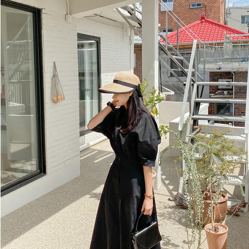 韓国 ファッション ワンピース 春 夏 カジュアル PTXJ627  ナチュラルテイスト リネン風 Aライン マキシ オルチャン シンプル 定番 セレカジの写真10枚目