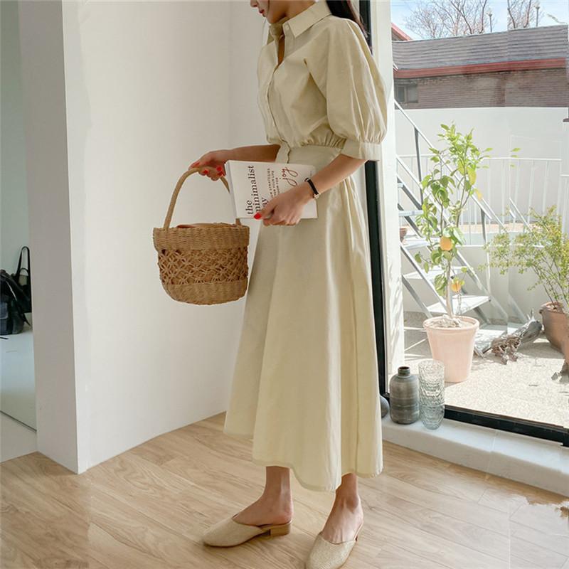 韓国 ファッション ワンピース 春 夏 カジュアル PTXJ627  ナチュラルテイスト リネン風 Aライン マキシ オルチャン シンプル 定番 セレカジの写真14枚目